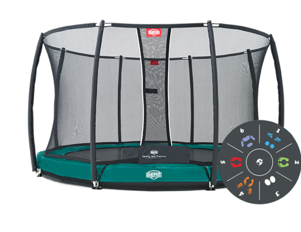 Батут зеленый Berg InGround Elite+ Tatoo Safety Net T-Series 14 ft (4,30 м)