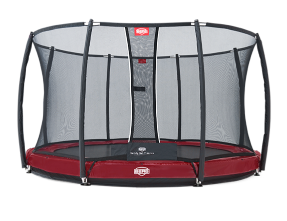 Батут красный Berg InGround Elite+ Safety Net T-Series 12,5 ft (3,80 м)